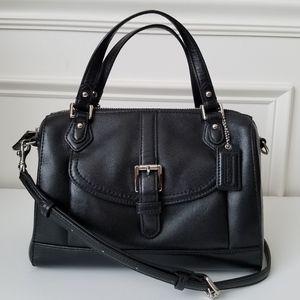 Coach Mini Satchel Black Leather Cross Body Bag